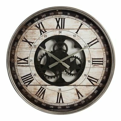 Hometime Vintage Metal Wall Clock Open Movement Style