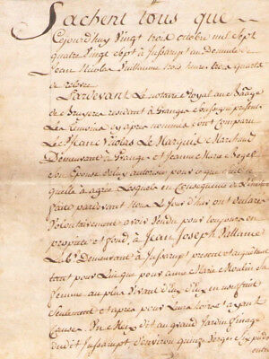 Rare 1784 4pp skin parchment notary manuscript letter signed with stamp NICE