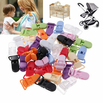50/100Pcs 10 Colors Pacifier Holder Clips Bulk Plastic Baby Girl Boy Dummy Clips