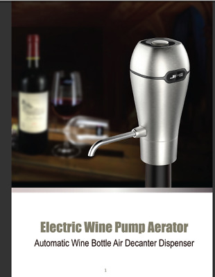 Wine Aerator. USB Rechargeable. Silver. Perfect for Whiskey Scotch Beer