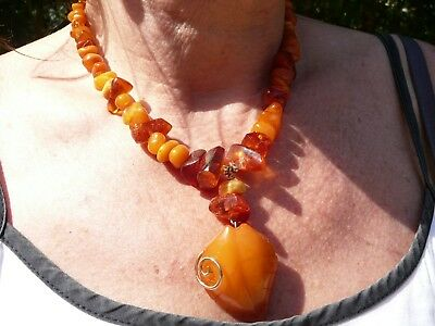 Art Deco Old Russian Amber Necklace With Large Pendant Made Of Very Old Amber