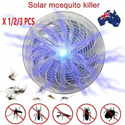 1/3X Solar Powered Buzz UV Lamp Light Fly Insect Bug Mosquito Kill Zapper Killer