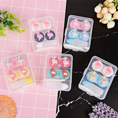2pc/set Cartoon portable plastic contact lens case contact lenses box contain_S