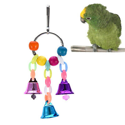 parrot pet bird chew cages hang toys wood large rope swing ladder bells chew_S