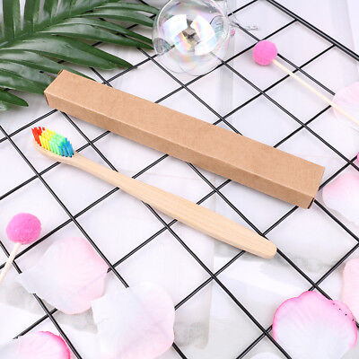 1pc Adult Eco-Friendly Rainbow Bamboo Fibre Toothbrush Biodegradable Teeth_S