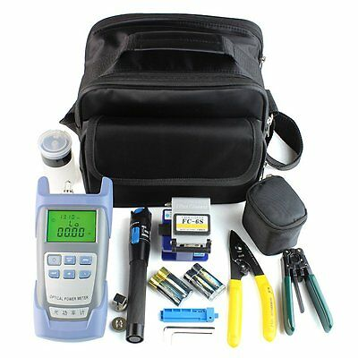 18PCS Fiber Optic FTTH Tool Kit With FC-6S Cutter Cleaver Optical Power Meter GS