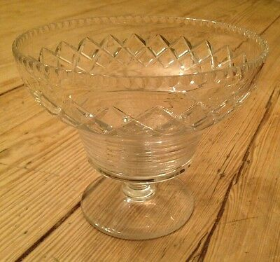A Stunning Edwardian Cut Crystal Glass Tazza Compote Bon Bon Footed Bowl