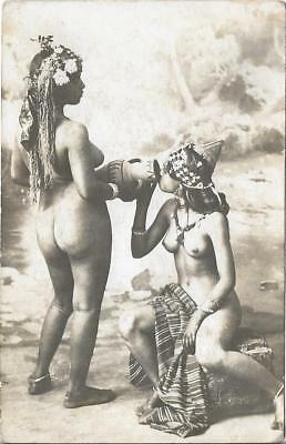 Mauresque arabe seins nus / nude arab Moorish Woman RARE not colorized