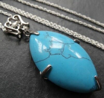 vintage STERLING SILVER TURQUOISE stone pendant chain necklace -N188