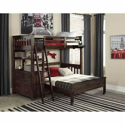 NE Kids Highlands Espresso Twin Loft Bed with Full Lower Bed - 11070NLFB