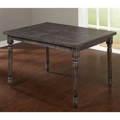 Antique Dining Table Distressed Dark Brown Wood Finish Vintage Rustic Rectangle