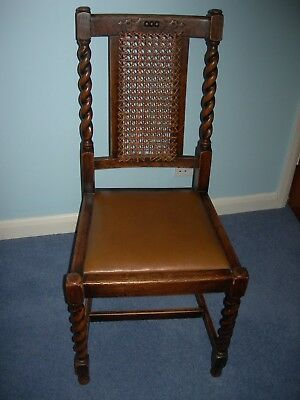 Victorian Oak Dining Chairs, Gothic Style, Cane Back