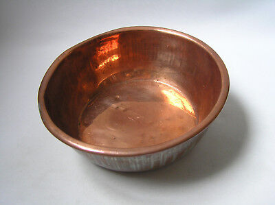 vintage copper plain bowl dish with lipped/rolled edge - dog water bowl?