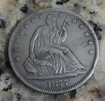 1877 S Seated Liberty Half Dollar cleaned