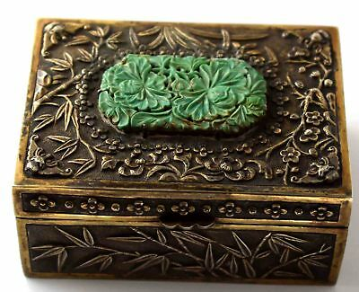 Sterling Silver Box With Carved Turquoise Flowers