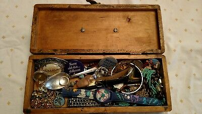 Old Box of Jewelry Miscellaneous with neat Handle Socket Tools Estate Sale Find