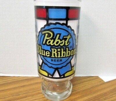 """Vintage Pabst Blue Ribbon Beer Stained Glass Collectible Beer Glass ~  6 3/4"""""""