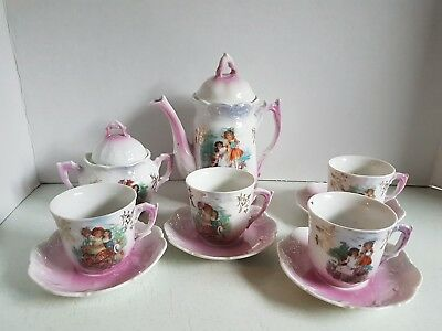 Vintage Child Sized Tea Set Made in Germany Pink and Victorian Scene Tea Pot Cup