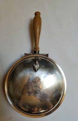 Silver ash pot, Marked 300, made in the USA. Wooden handle,Engraved horse lovely