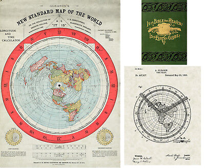 1892 Flat Earth Map Gleason's New Standard Map of the World Alexander Gleason