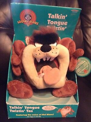 "Plush Toy 10"" Warner Bros Looney Tunes Talking Tongue Twisting Taz Age 3+ NEW"