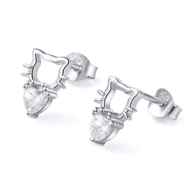 Ear Studs Cat Earrings Love Heart CZ Stud S925 Sterling Silver Cute Lovely NEW