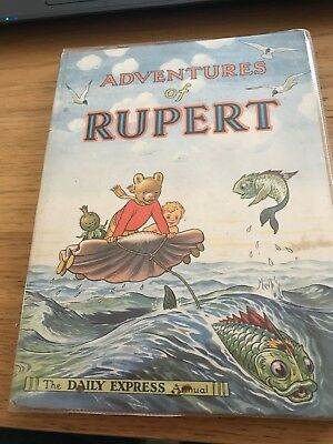 Rare Vintage 1950 Adventures Of Rupert Daily Express Annual Hardback Book