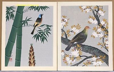 Two Japanese Woodblock Prints by Ohno Bakufu: Bird and Cherry Blossoms and Bambo