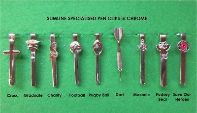 Woodturning Special Theme Pen Clips Slimline 7mm in CHROME