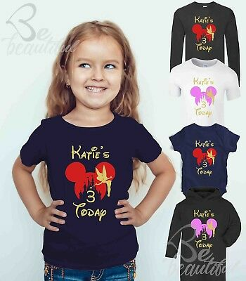 Happy Birthday Disney Castle Tee ALL AGEs ANY NAME PERSONALISED Tee Top Babysuit