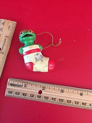 Vintage MUPPETS 1971 1980 Sesame Street Oscar the Grouch in stocking Ornament 02