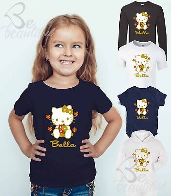 HELLO KITTY ANY NAME PERSONALISED T Shirt Gift Birthday Cute Tee Top Babysuit