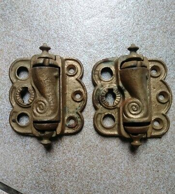 "Antique Stover Freeport Illinois Cast Iron 3"" Door Hinge Pair Gold Salvaged"