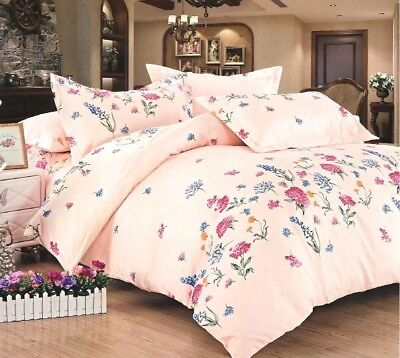 Beautiful Luxury Floral Print Duvet Cover Bedding Set with Pillowcases Pink/Blue