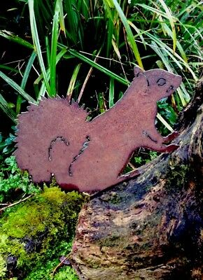 Rusty Metal Squirrel Silhouette Garden Ornament
