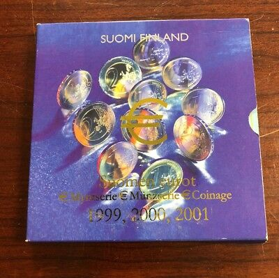 Suomi Finland Finnish 1999 2000 2001 3 Years Euro Sets BU Uncirculated 24 Coins