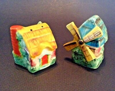 Salt And Pepper Shakers - Tiny Hand Painted Windmill And Cottage - Japan