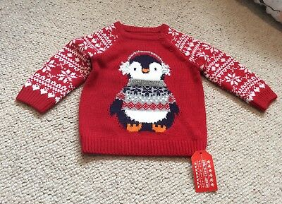 Baby Girls Christmas Penguin Knitted Jumper 9-12 Mths BNWT