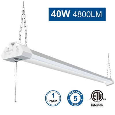 40W 4800LM 4FT Fixture with Pull Chain 5000K Bright LED Shop Light for Garage US