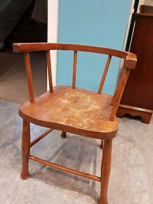Solid Oak Antique Childs Chair For Upcycling