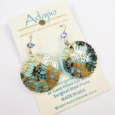 Adajio Earrings Shiny Gold Plated Floral Filigree on Blue Disc Handmade USA 7911