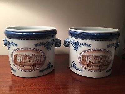 Pair Mottahedeh Large Cachepots White House & US Capital Scenes