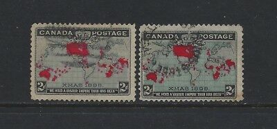 CANADA - #85-#86 - 2c IMPERIAL PENNY POSTAGE XMAS USED STAMPS (1898)