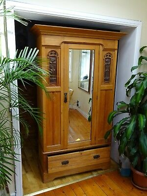 A Stylish Antique Arts & Crafts Quality Wardrobe Circa Victorian