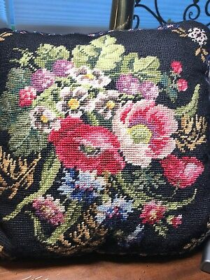 Needlepoint Pillow Flowers Vtg Shabby Style roses On Black Hand Stitched 14x14