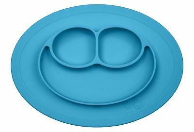 ezpz Mini Mat - One-piece silicone placemat + plate (Blue), One Size Blue