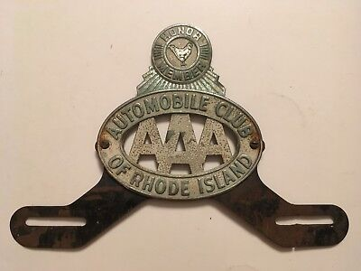 1930's 1940's Rhode Island Automobile Club AAA License Plate Topper Honor Member