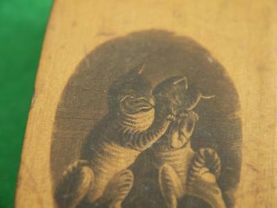 Super Unusual Treen Antique Mauchline Ware Wooden Trinket Snuff Box Cats Playing