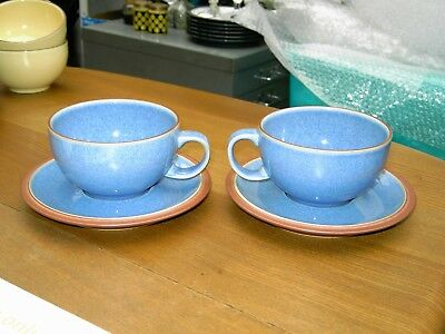 Denby Juice 2 x Blue Berry Cups & Saucers In V.G.C. Free UK Postage