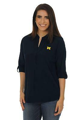 c1bad7922 NWT Michigan Wolverines UG Apparel NCAA L Navy Women's Button Down Tunic Top
